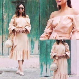 Zara Dresses - Zara Nude Off The Shoulder Poplin Femme Midi Dress